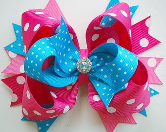 NEW glam over-the-top loopy layered shocking and hot PINK with turquoise hair bow clip