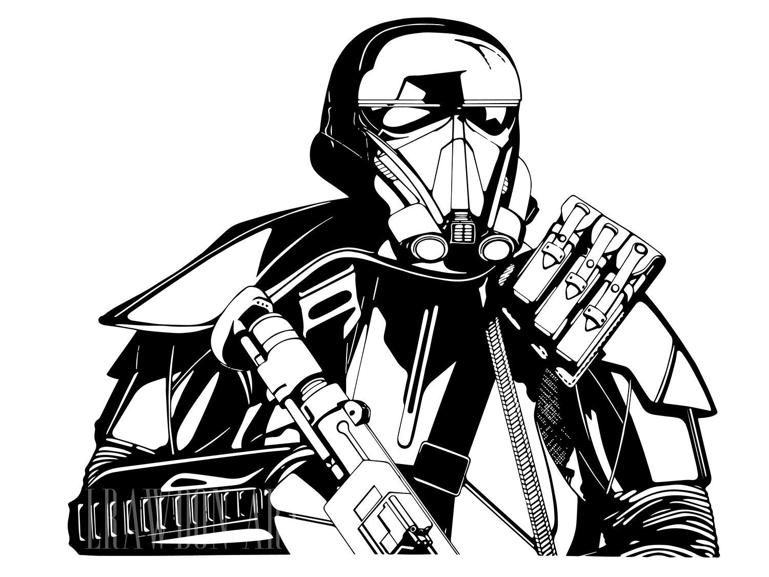 Fine Line Art : Imperial death trooper black & white ink portrait fine art