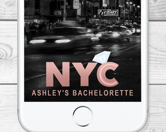Custom NYC Bachelorette SnapChat Filter/Geofilter  - all made to order - New York City Bachelorette or Bachelor Party Manhattan Rose Gold