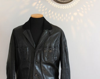 70s 80s Men's black leather jacket