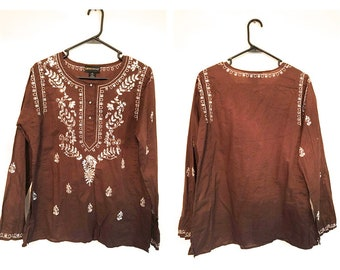 Vintage Brown Embroidered Blouse Sz M