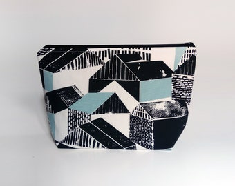 Medium / Large Knitting Project Bag, Abstract Houses Project Bag, Crafter Project Bag