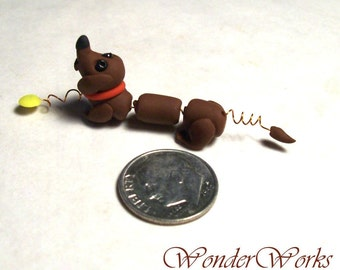 Doxie Pull Toy Dollhouse Miniature Digger Dawg Hand Sculpted Dachshund Toy for Dollhouse Child Decor