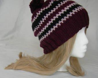 Burgundy Wine Fair Isle Soft Beanie maroon pink black zig zag winter hat hand knit