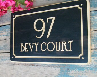 "15""x9.5"" Nouveau Home Address Engraved Plaque, Parisian Number Plaque, Housewarming Gift, Open House Gift, Realtor Gift, custom wood sign"