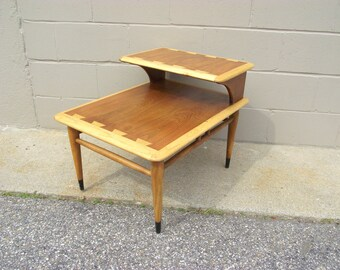 Lane Acclaim Table - 2 Tier Step Back End Side Table Dovetail Style - Mid Century Modern - Danish Modern Furniture - American RETRO #3 rf