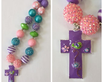 Easter Cross Chunky Bead Necklace, Easter Chunky Necklace, Bubblegum Necklace, Purple, Turquoise, Green & Pink Color Necklace
