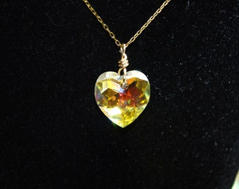 Crystal Heart Necklace -- Swarovski Crystal Heart, Gold Chain