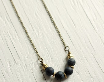 Matte Purple Stone Necklace with Brass Heishi