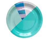 Unicorn Mystic Stripe Small Paper Plates - mermaid blue lavender mint sparkly holographic iridescent foil, boy first birthday baby shower