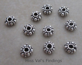 10 oxidized sterling silver Bali beaded spacer beads 5mm