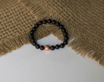 Black Matte Onyx Beaded Bracelet
