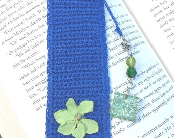 Crocheted Cobalt Blue Bookmark With Glass Beads