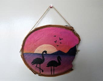 Pink Flamingo Sunset Silhouette Wooden Hanging Ornament