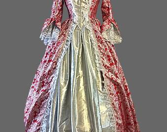 Renaissance Red Silver Metallic Brocade Dress