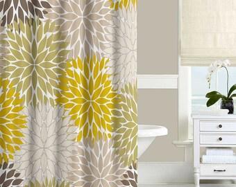 Floral Shower Curtain, Dahlia, Mustard Yellow Green Brown Beige Gray Shower Curtain, Bathroom Decor, Bath Curtains, Modern Shower Curtains