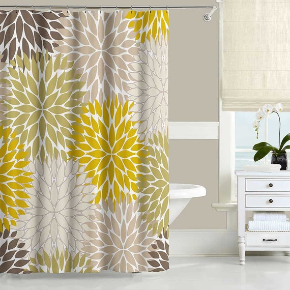 floral shower curtain dahlia mustard yellow green brown. Black Bedroom Furniture Sets. Home Design Ideas