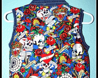 Boys Rockabilly Tattoo Print Denim Vest....size 6-9 months