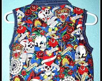Boys Rockabilly Tattoo Print Denim Vest....size 6-9 months