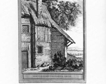 Original Antique Engraving   - La Belette Entree Dans Un Grenier