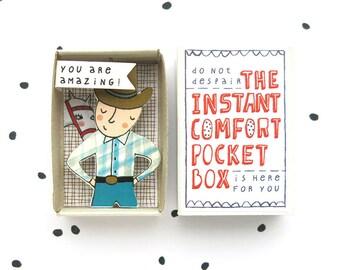 Cowboy - The Instant Comfort Pocket Box - je bent geweldig! -bericht in een doos - cheer doos - waardering cadeau