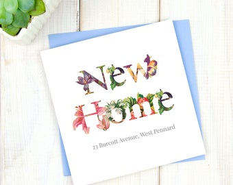 Floral New Home Card - Personalised New Home Card - First Home Card - House Move Card - Housewarming Card - Best Friend Greetings Card