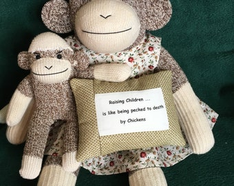 MOTHERS Day GIFT Sock Monkey Doll SET with Quote Pillow