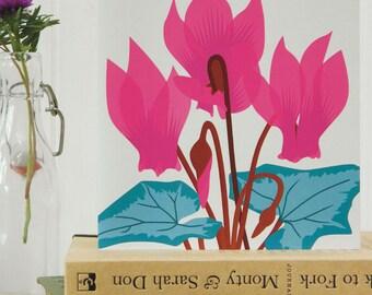 Cyclamen card - pink flower, birthday card