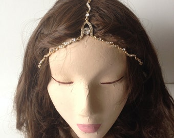 COACHELLA SALE Thin Gold Crystal Gypsy Crown