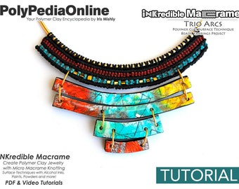 Macrame Tutorial, Knotting Tutorial, DIY Macrame, Macrame Jewelry, Handmade Beads, Macrame Necklace, Necklace Pattern, Polymer Clay, Video