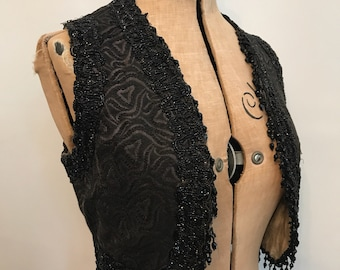 Antique Victorian 1800s brocade and jet beaded jacquard waistcoat - mourning