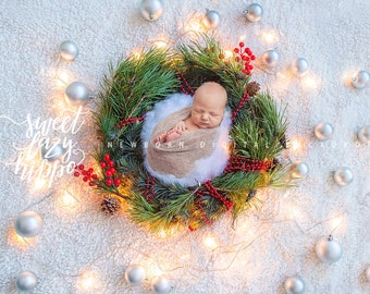 Christmas newborn wreath digital backdrop/prop with festive lights and silver matt Christmas balls.  Instant download jpg file