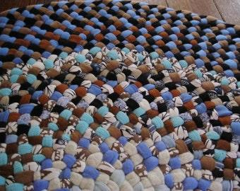 Midnight, Cornflower Blue Round Braided Rug from recycled cotton