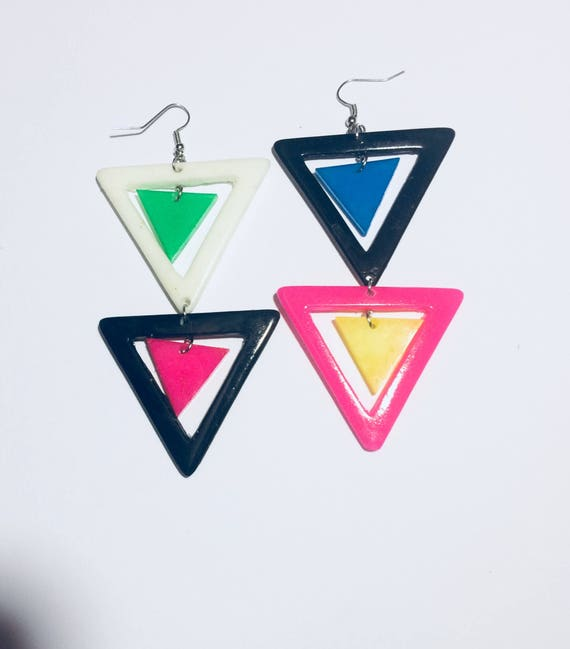 HAndmade 80s Triangles Dangle Earrings