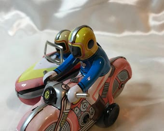 Tin Litho, Wind up Toy, Motorcycle with Side Car