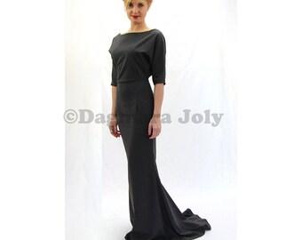 floor length dress,  dolman sleeve dress, maxi dress with sleeves, dress with train, pencil dress, gray dress, evening dress, dress