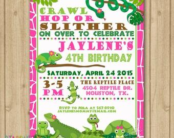 Reptile Invitaion, Girl Reptile Birthday Invitation, Lizard Snake Turtle Invitation, Girl Reptile Party, Girl Reptile Invitation