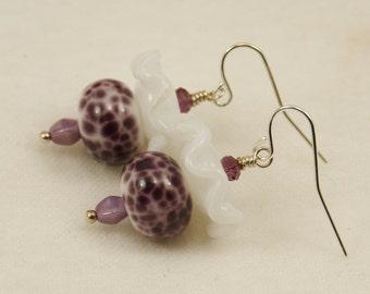 White Ruffles--White and Purple Violet Lampwork Bead Earrings   673
