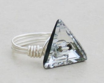 Triangle Crystal Wire Wrap Ring made with Swarovski Crystal Elements by LadyCJewellery
