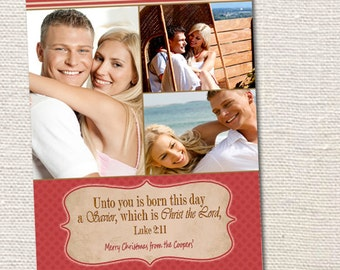 Holiday Christmas Photo Cards, Choice of Digital file or Printed Cards with envelopes