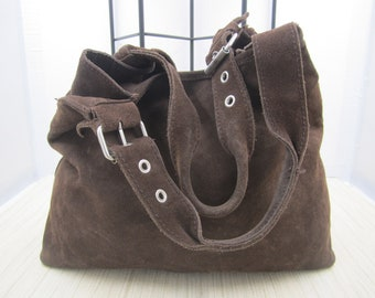 Chocolate Brown Cow Suede Tote Bag