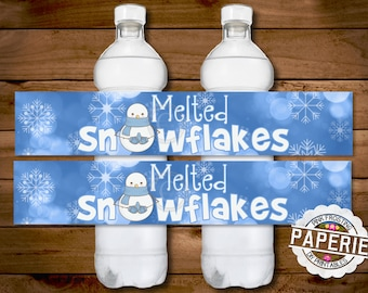 MELTED SNOWFLAKES WATER bottle label, Christmas Decor, Christmas Party, Birthday Party, Melted Snowman, Pink Frosting Paperie