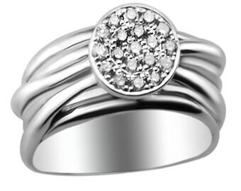 Intertwined Diamond Ring, 14kt White Gold Diamond Statement Ring, Diamond Engagement Ring, Handmade by Gevani