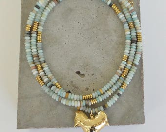 Gold Dipped Shark Tooth on Amazonite Necklace