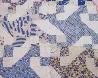 Vintage Feedsack Quilt Squares Lot-Estate Find-Set of 18