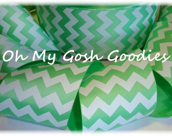 "MINT WHITE CHEVRON Grosgrain Ribbon - 3"" - 5 Yards - Oh My Gosh Goodies Ribbon"