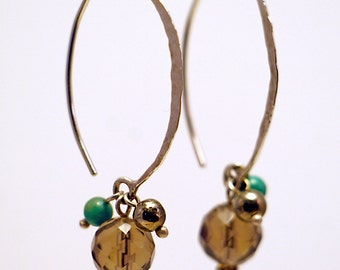 Oval Hoops with Smoky Quartz