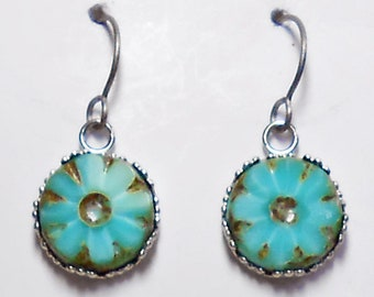 Czech Glass  Earrings Titanium Hypoallergenic Turquoise Aqua Flower