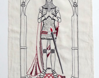 Hand embroidered Medieval Knight Hanging Panel - on linen in black, white and grey