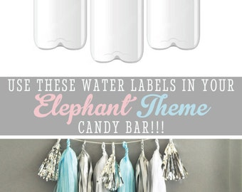 Elephant Water Bottle Labels Elephant Birthday Party Baby Shower themes for Girls Elephant Baby Shower Ideas for Girls (EB2350BZ) set of 24|